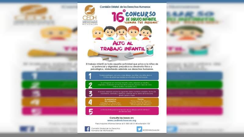 Pospone CEDH concurso de dibujo infantil por contingencia sanitaria