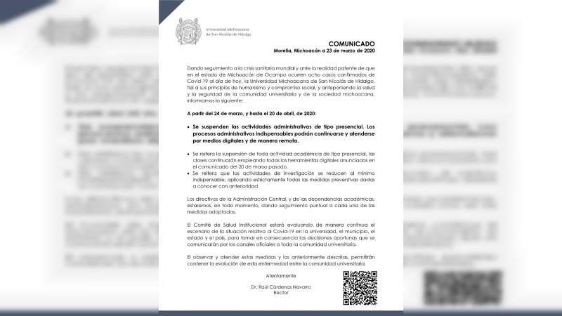 Se suspenden las actividades administrativas de tipo presencial en la UMSNH