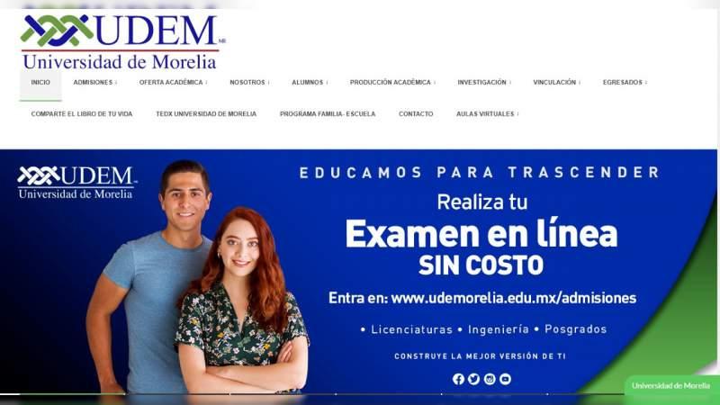 UdeMorelia mantiene exámenes de admisión en línea ante contingencia sanitaria