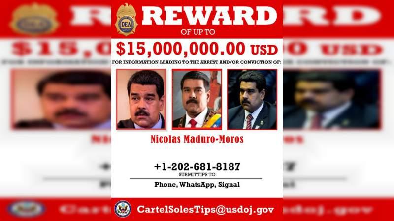 Estados Unidos ofrece 15 millones de dólares por la captura de Nicolás Maduro