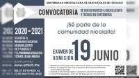 Abren convocatoria para bachillerato, técnico en enfermería y, licenciaturas en UMSNH