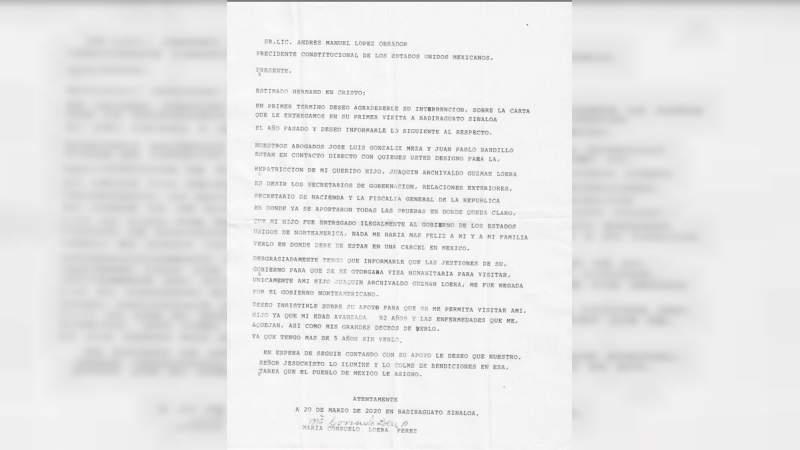 Nueva carta de la mamá de El Chapo a López Obrador, es para repatriar al capo