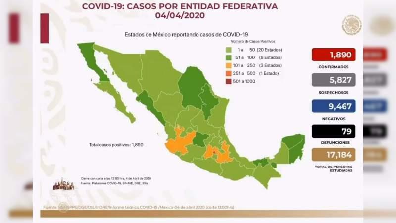 Aumenta a mil 890, los casos por coronavirus en México, ya son 79 personas muertas