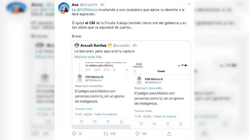 Insulta cuenta oficial de FGR a usuaria en Twitter