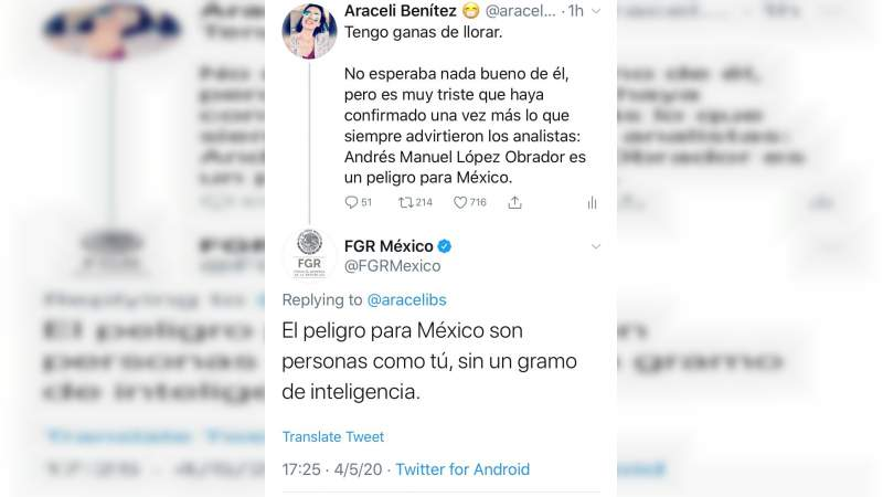 FGR reconoce que envió mensaje agrediendo a usuaria de Twitter por criticar a López Obrador