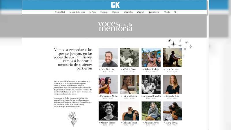 Crean memorial virtual, para recordar a las víctimas de coronavirus en Ecuador