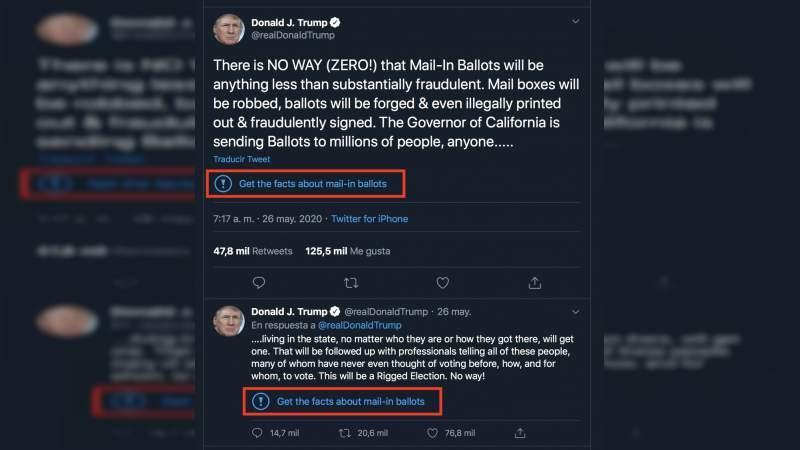 """Tweets de Trump son marcados como """"potencialmente engañosos"""" y este explota amaga con cerrar las redes sociales"""