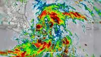 """Fuertes lluvias en el Sur y Sureste de México por la depresión tropical """"Tres"""""""