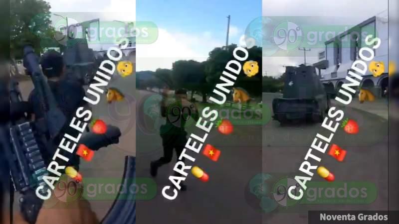 """""""¡El Aguaje ya es de Los Viagras!"""": Sicarios se graban en plaza de Aguililla, paseando armados y con camión """"monstruo"""""""