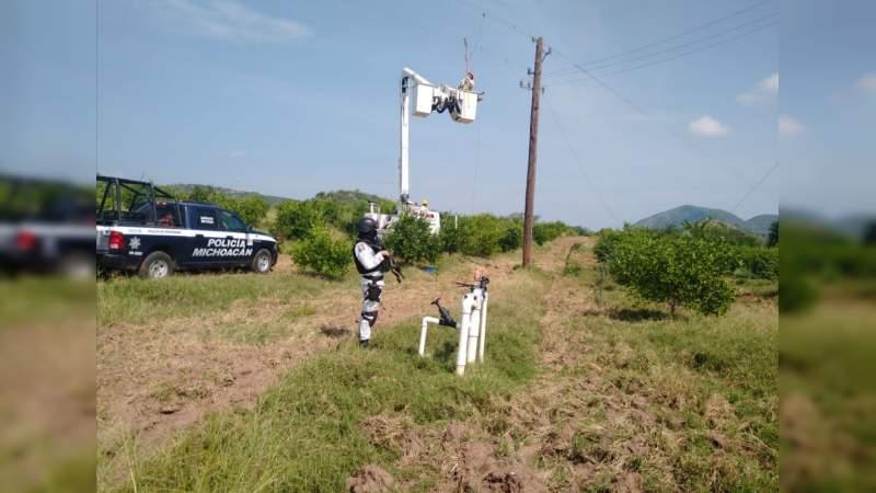Quedó restablecida la luz eléctrica en los poblados Naranjo de Chila y el Charapo, Aguililla