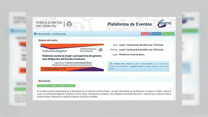 Poder Judicial de Michoacán prepara conferencia magistral para analizar la violencia contra la mujer y la perspectiva de género
