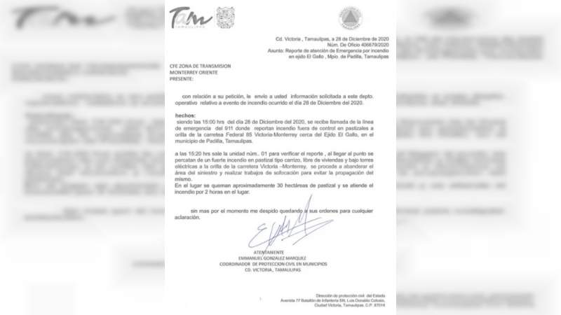 CFE usó documento falso para justificar apagón masivo: PC Tamaulipas desconoce incendio, oficio y firma