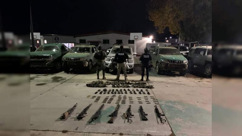 21 detenidos, 3 campamento destruidos, armas y vehículos asegurados, en Salvador Escalante