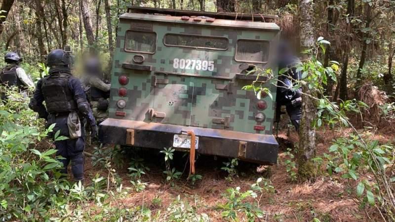 Aseguran camión blindado, camioneta y desmantelan campamento, en Salvador Escalante