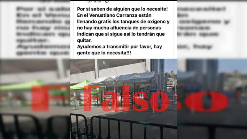 """""""No se dejen engañar"""" en el Venustiano Carranza no hay recargas para tanques de oxígeno: Cecufid"""