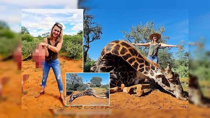 Mujer generó polémica después de cazar una jirafa y exhibir su corazón
