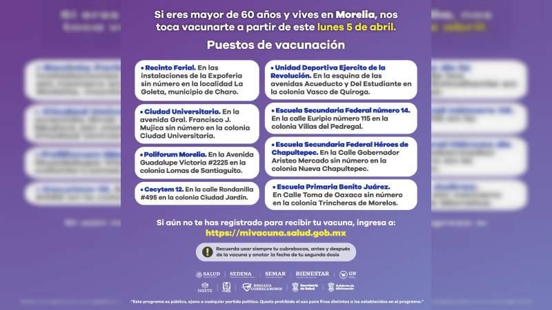 Este lunes se reanuda vacunación contra COVID-19 en Morelia a adultos mayores