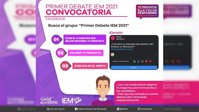 Convoca IEM a Michoacanos a participar en el primer debate a la Gubernatura del Estado