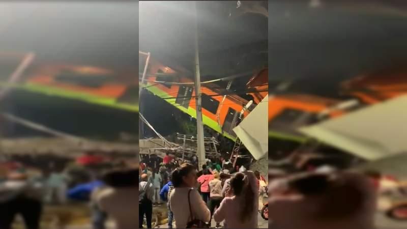 Colapsa el Metro de la Ciudad de México: Caen vagones varios metros de altura
