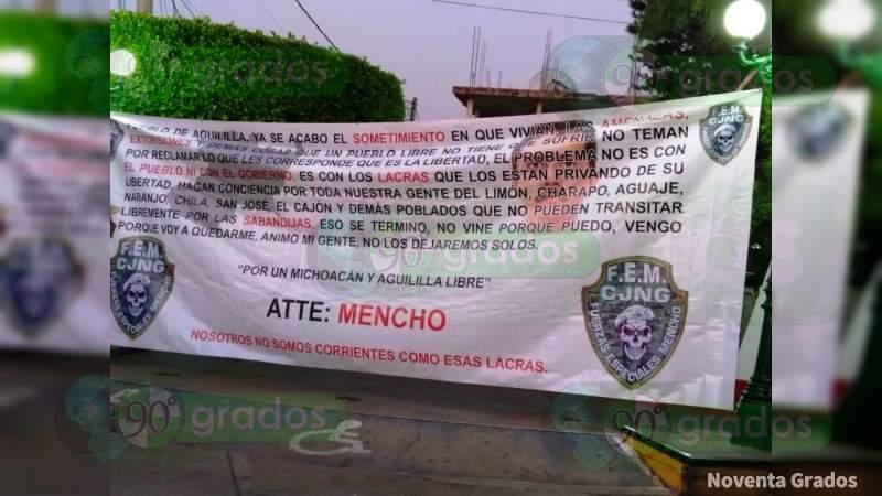"""""""Vengo porque voy a quedarme"""": Aparece manta con mensaje del Mencho en Aguililla"""