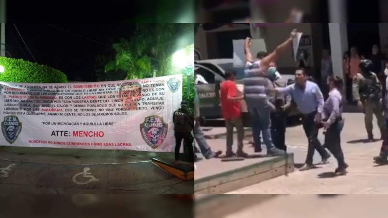 CJNG toma Aguililla: Sicarios, camionetas blindadas y mantas del Mencho frente a la Presidencia, a 20 días de la visita del gobernador Silvano Aureoles