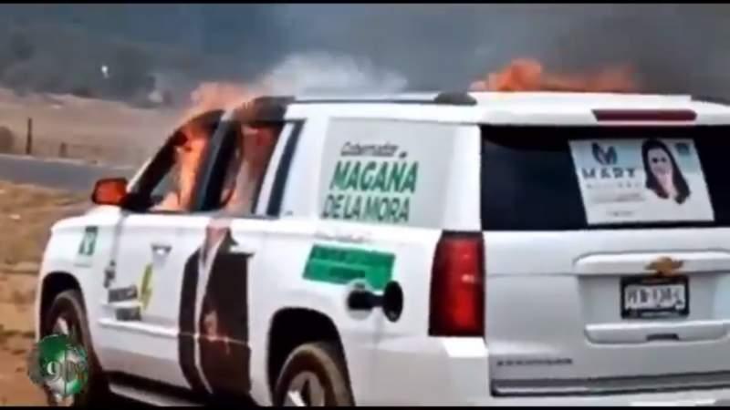 Queman camioneta de Juan Antonio Magaña de la Mora en Arantepacua