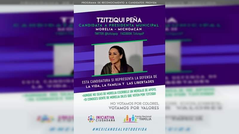 Tzitziqui Peña reconocida entre candidatos Provida