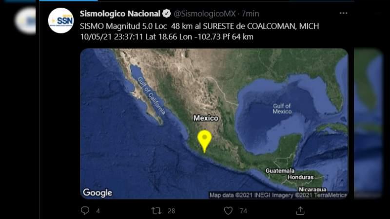 Según actualización fue de 5 grados el sismo registrado en Michoacán