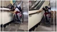 Video de un hombre en silla de ruedas demostrando como baja las escaleras en el metro de la CDMX se hace viral