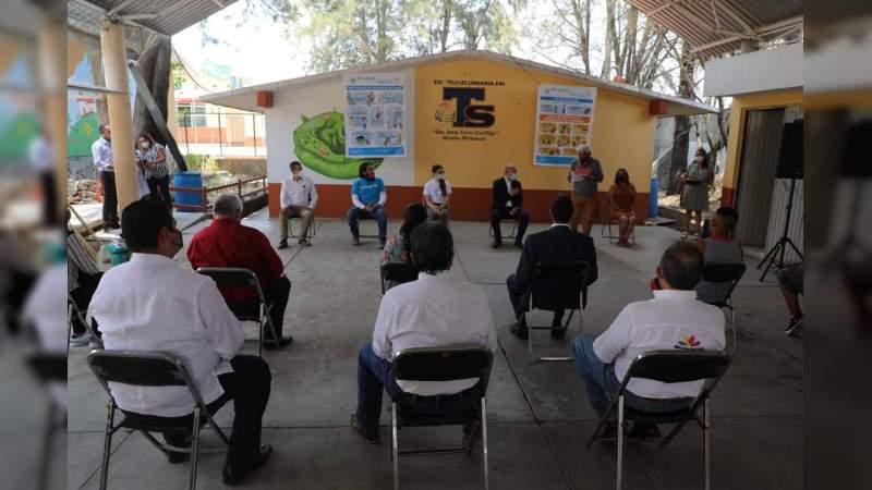 Continúan SEE y Unicef labores de higiene para reapertura de escuelas nivel básico en Michoacán