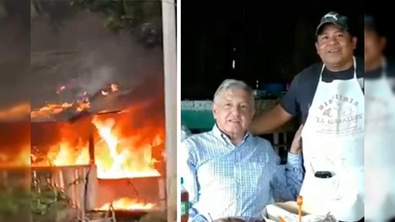 Incendian restaurante donde comió AMLO en Michoacán