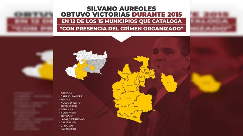 Silvano obtuvo victorias durante 2015, en 12 de los 15 municipios que cataloga con presencia del crimen organizado: Cristina Portillo.