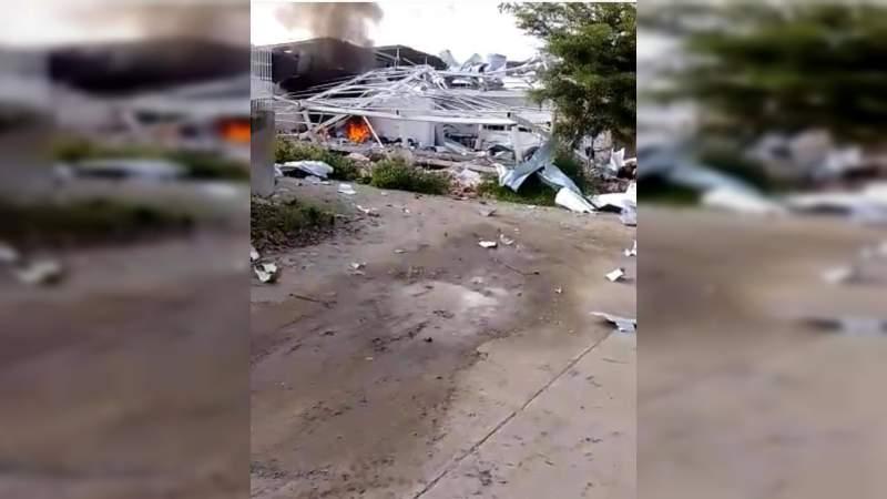 Explota bodega en Tepalcatepec: Se trataría de narcolaboratorio