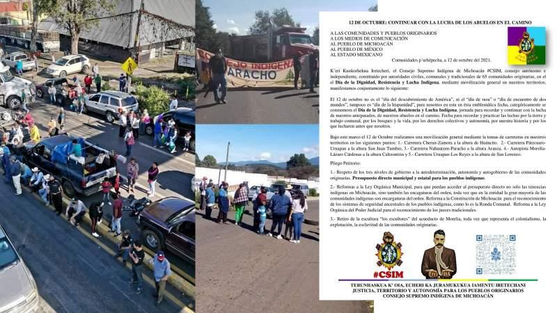 Comunidades purépechas bloquean carreteras en Michoacán; exigen autonomía