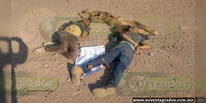 Esposados, baleados y con mensaje intimidante localizan dos cadáveres en Apatzingán, Michoacán