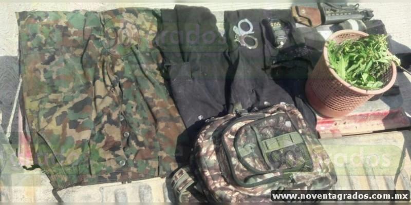 Tras balacera aseguran granada, arma, droga y equipo táctico en Chinicuila, Michoacán; hay un detenido