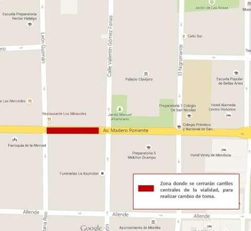 Realizarán trabajos del servicio de agua en la avenida Madero poniente de Morelia