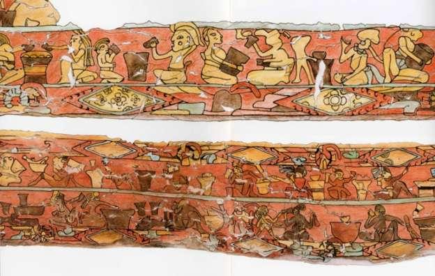 """INAH registra detalle, forma y color del mural """"Los bebedores"""""""