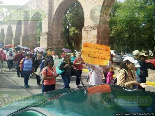 Integrantes del FESEMSS se manifiestan en el Centro Histórico de Morelia
