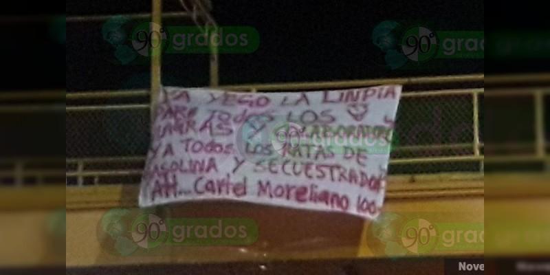 Reaparecen narcomantas en Morelia, Michoacán, ahora contra Los Viagras y huachicoleros