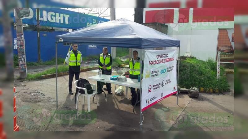 """Presente la campaña de seguridad vial """"Vacaciones Seguras"""" en los accesos de Morelia"""