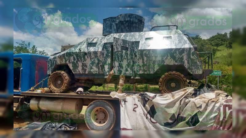 Tras balacera aseguran un camión blindado, rifles, lanzacohetes y miles de balas en Sonora