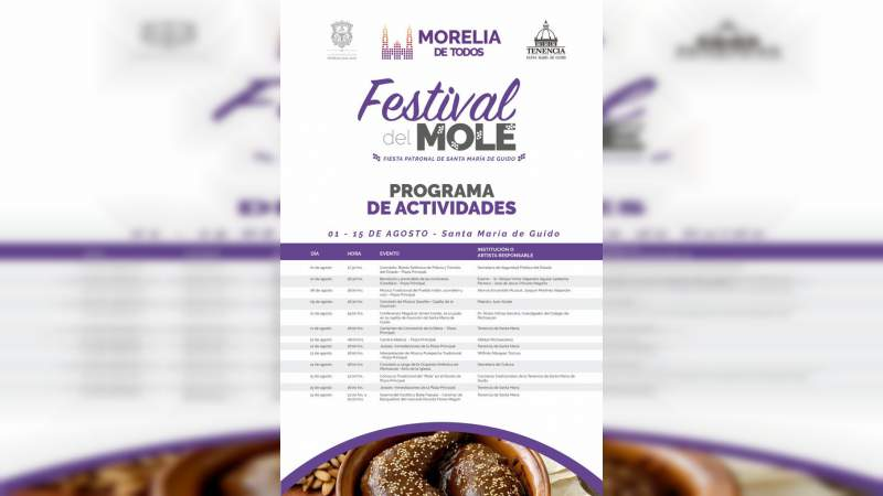"""Todo listo para vivir el """"Festival del Mole"""" 2018 en la Tenencia de Santa María de Guido"""