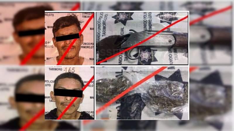 Detienen a dos con armas y droga en Tarimoro, Guanajuato