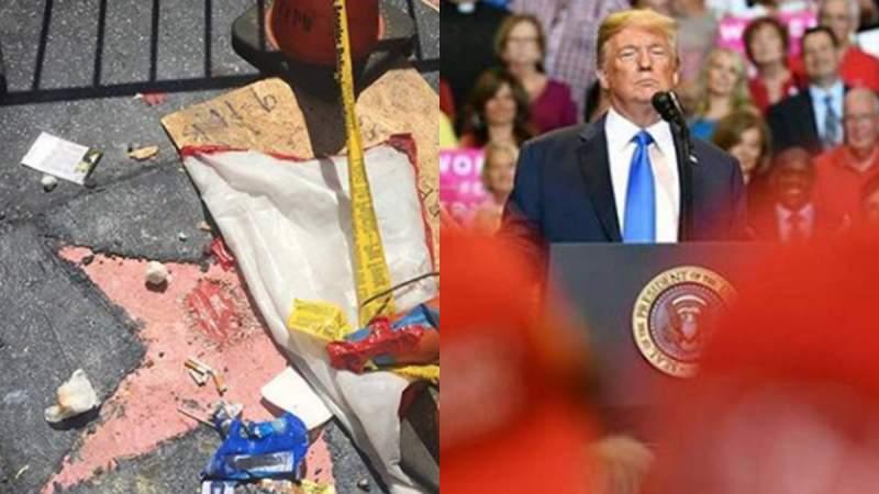 Trump perdería se estrella en el Paseo de la Fama de Hollywood