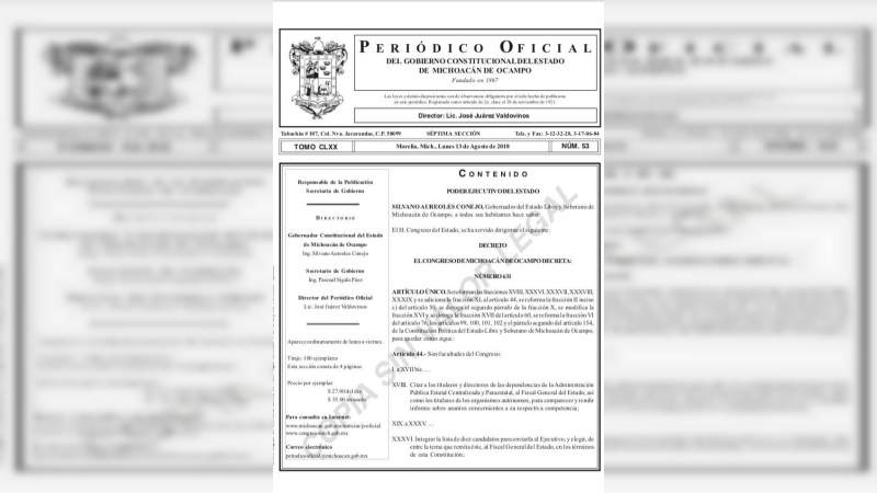 Decreto de creación del Fiscal General del Estado, se publica en el Periódico Oficial