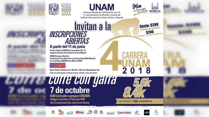 Abiertas las inscripciones para la cuarta carrera atlética de la UNAM Campus Morelia