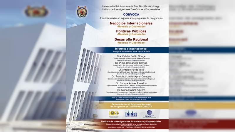 Oferta Casa de Hidalgo posgrados en materia de investigación económica y empresarial