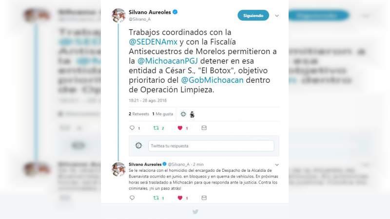 """Detienen en Morelos a alias """"El Botox"""" objetivo del gobierno de Michoacán"""