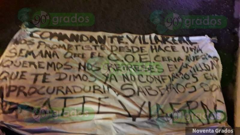 Aparecen narcomantas en Morelia contra mando de la PGJE